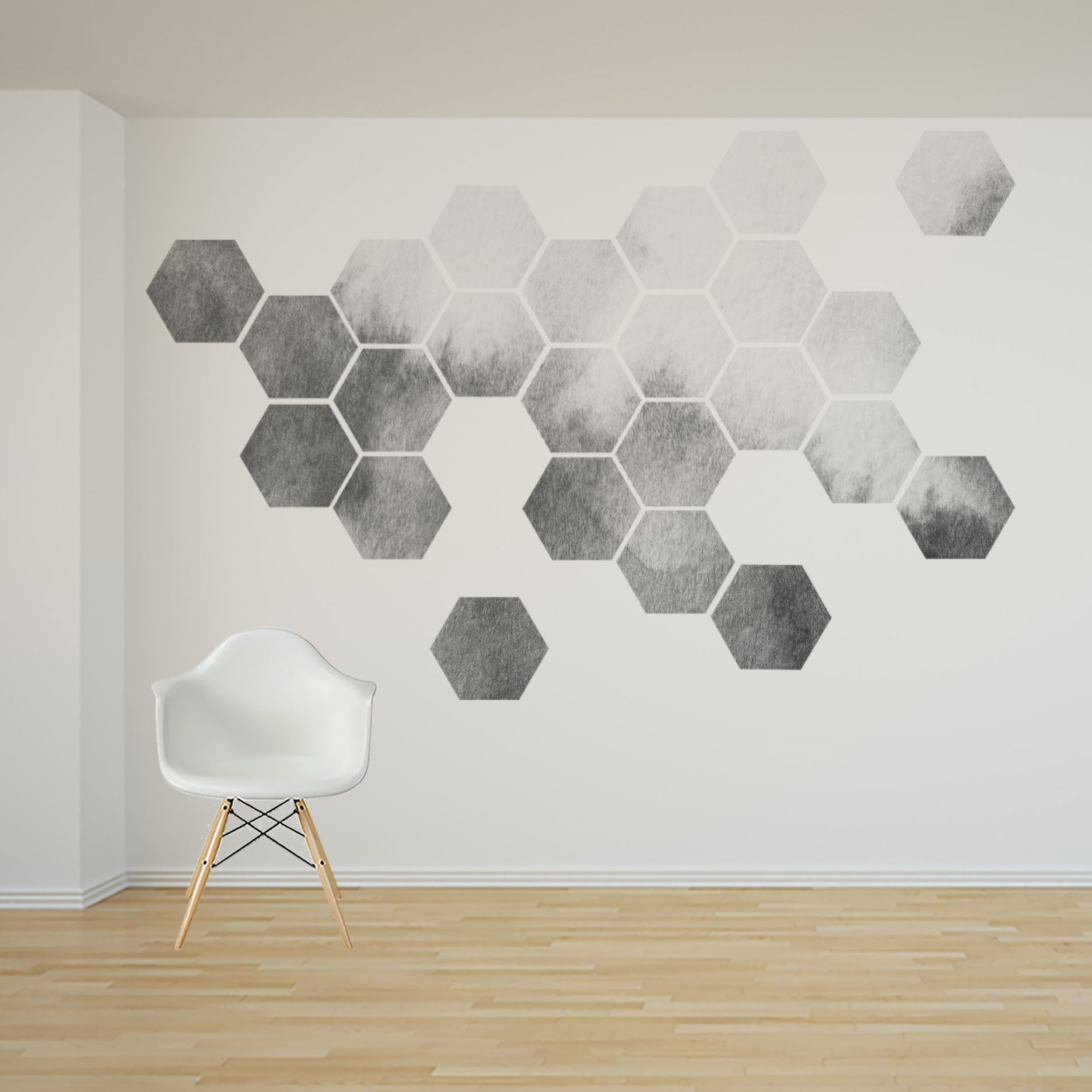 Removable honeycomb wall decal 16 or 24 hexagon stickers self adhesive canvas art sticker watercolor design