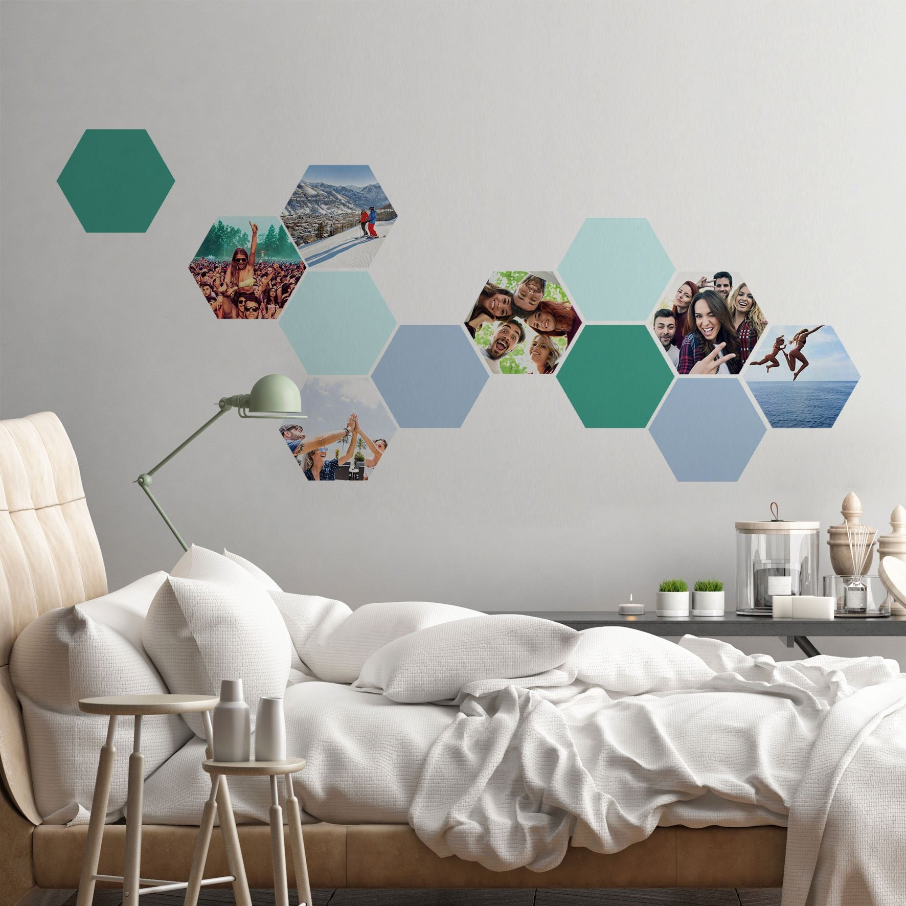 Custom photo honeycombs 12 large hexagon stickers 6 photos and 6 plain coloured removable stickers great birthday or christmas present