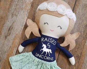 Unicorn doll, Cloth doll, Fabric doll, Handmade doll, Rag doll, Girls toy, Custom doll, Personalized doll, Heirloom doll, Lookalike doll