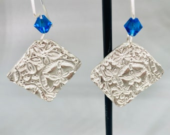 Square Fine Silver Earrings with Starfish and Sand Dollars