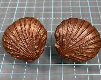 Scallop Shell Copper Post Earrings