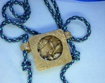 Swim with the fish in this  Bronze Box Pendant with Kumihimo Adjustable Cord