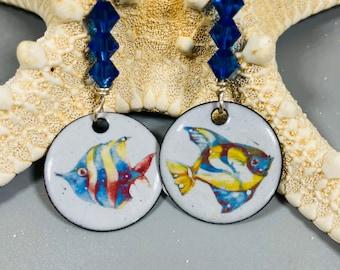 Enameled Round Fish Earrings