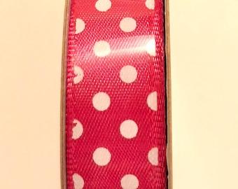 Pink and White Polka Dot Satin Fabric Ribbon