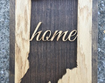 "Indiana ""home"" Scroll Art Sign"