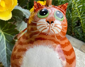 ORANGE TABBY CAT Gourd, With Green Eyes, Hand Painted Gourd, Original Design, Unique Gourd Art, Tabby Cat Collectible, Cat Lover Gift Item