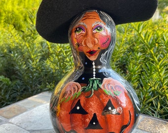 """HALLOWEEN WITCH GOURD, Mini, Hand Painted Gourd, Unique Gourd Art, Original Design,  6"""" Tall, Halloween Decor, For the Witch Collector!"""