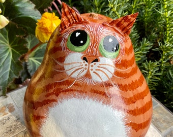 ORANGE TABBY CAT Gourd, With Green Eyes, Hand Painted Gourd, Orange Tabby Lover Collectible, Unique Gourd Art, Tabby Cat Art, Cat Lover Gift