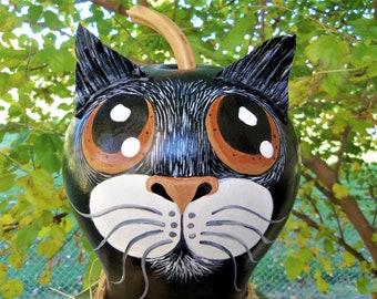 Pumpkin CAT GOURD, XXL Hand Painted Dried Gourd, Fall/Thanksgiving Decor, Cat Lover Item, Cat Collectible, Gourd Collector Item, Gourd Art