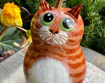 ORANGE TABBY CAT Gourd, With Green Eyes, Hand Painted Gourd, Unique Gourd Art, Orange Tabby Collectible, Great Gift for the Cat Lover!