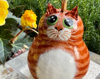ORANGE TABBY CAT Gourd, With Green Eyes, Hand Painted Gourd, Unique Gourd Art, For the Orange Tabby Cat Lover, Tabby Cat Collectible Gift