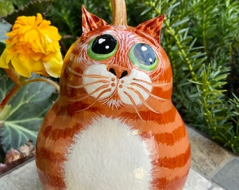 ORANGE TABBY CAT Gourd, With Green Eyes, Hand Painted Gourd, Original Design, Unique Gourd Art, Orange Tabby Cat Collectible, Cat Lover Gift