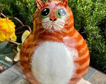 ORANGE TABBY CAT Gourd, With Green Eyes, Hand Painted Gourd, Unique Gourd Art, Orange Tabby Cat Collectible, Cat Lover Gift Item, Cat Art