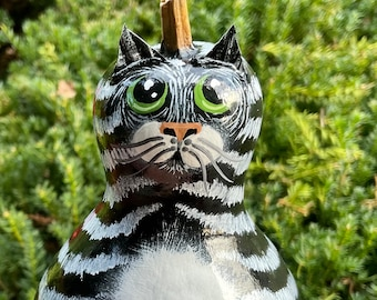 BLACK and WHITE TABBY Cat Gourd, Hand Painted Gourd, With Green Eyes, Tabby Collectible, Unique Gourd Art, Cat Art, Tabby Cat Lover Gift