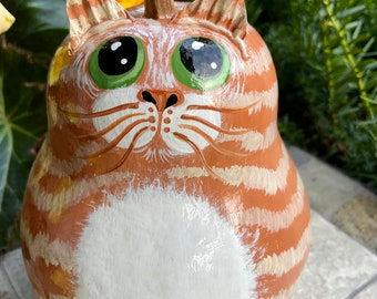 BLONDE TABBY CAT Gourd, With Green Eyes, Hand Painted Gourd, Cat Lover/Cat Collector Item, Cat Art, Unique Gourd Art, Cat Collectible Gift