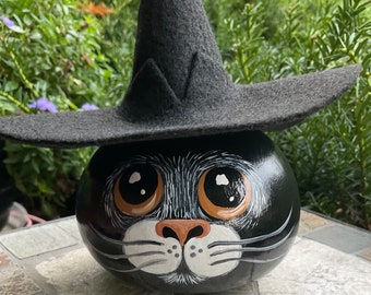 WITCH CAT HEAD Gourd, Hand Painted Gourd, Halloween Decor, Gourd Art, Cat Lover/Collector, Black Cat Witch, Cat Collectible, Dried Gourd