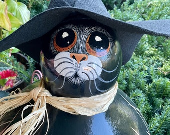 XXL CAT WITCH Gourd, Hand Painted Gourd, Unique Gourd Art, Cat Collectible, Halloween Gourd Lover Item, Halloween Decor, Cat Lover Gift