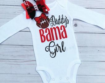 Bama Baby Alabama Crimson Tide Hand-Lettered Calligraphy Short-Sleeve Unisex Bodysuit roll tide College Game Day Baby Shower Gift