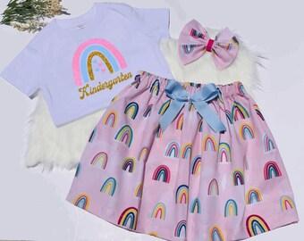 Kindergarten Outfit, Back To School, Girls School Outfit, First Day of School Outfit, Pre-K Outfit, Back To School Skirt, Kindergarten Shirt