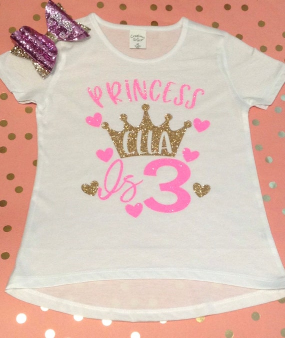 Princess Birthday Shirt Little Girls Personalized Happy