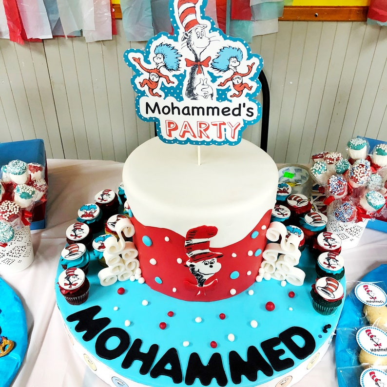 Cat In The Hat Cake Topper Dr Seuss Party Decorations Dr Seuss Party Birthday