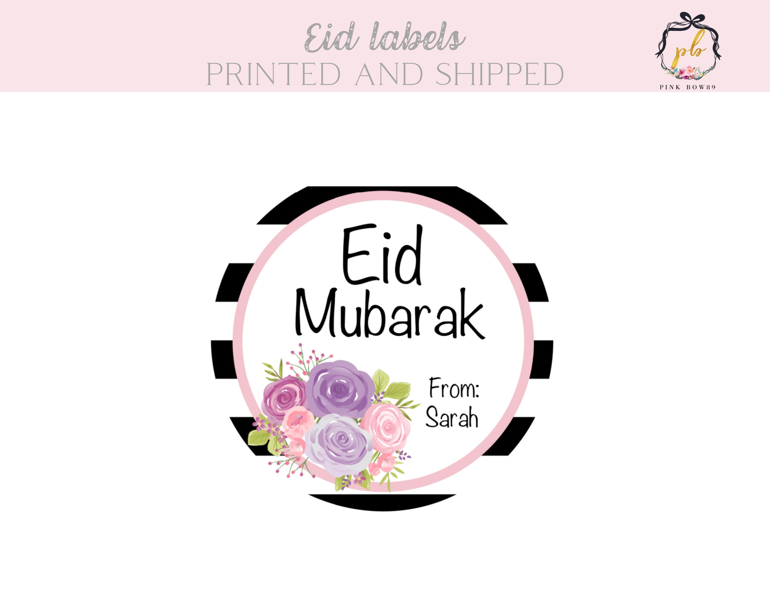 48 Personalised Eid Mubarak Party Labels Stickers Sweet Cone Goodies Gifts Bags