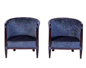 Superieur Exceptional Pair Of Red Mahogany Club Chairs In Gray Velvet