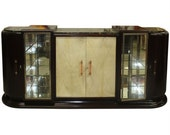 Very Rare 1930 39 s French Art Deco massive walnut bar vitrine buffet sideboard , parchment front