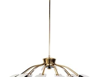 Exceptional 1950's Mid-Century Modernist Black Spider 12-Light German Sputnik Chandelier Pendant