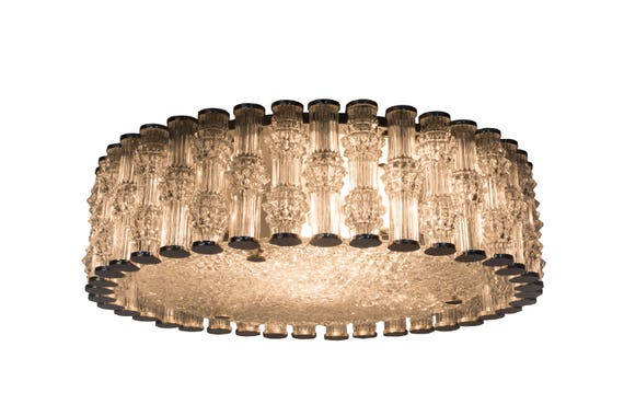 Plafoniere Living : Chic grand kaiser primat ice textured crystal plafoniere etsy