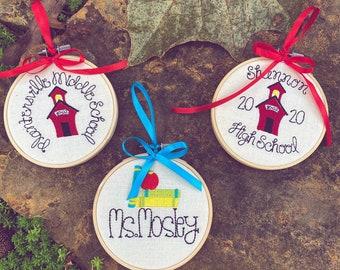 Custom Embroidery Hoop Teacher or School Ornament