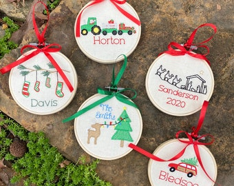 Custom Embroidery Hoop Christmas Ornament - Choose from 5 Designs
