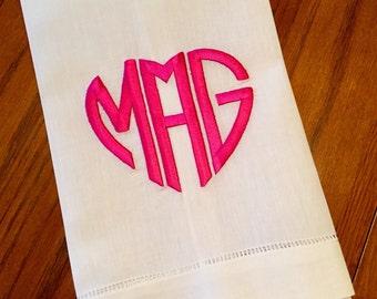 Heart Monogram Hand Towel