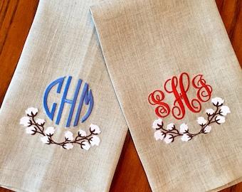 Monogrammed Cotton Boll Natural Linen Hand Towel