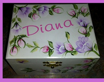 """The """" Diana""""  Musical Jewelry Box with Ballerina - Hand Painted & Personalized / Flower Girl Gift"""