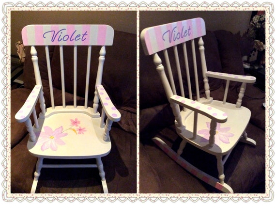 Superb Large Spindle Wood Rocking Chair The Violet Hand Painted Personalized Baby Shower First Birthday Special Birthday Bralicious Painted Fabric Chair Ideas Braliciousco