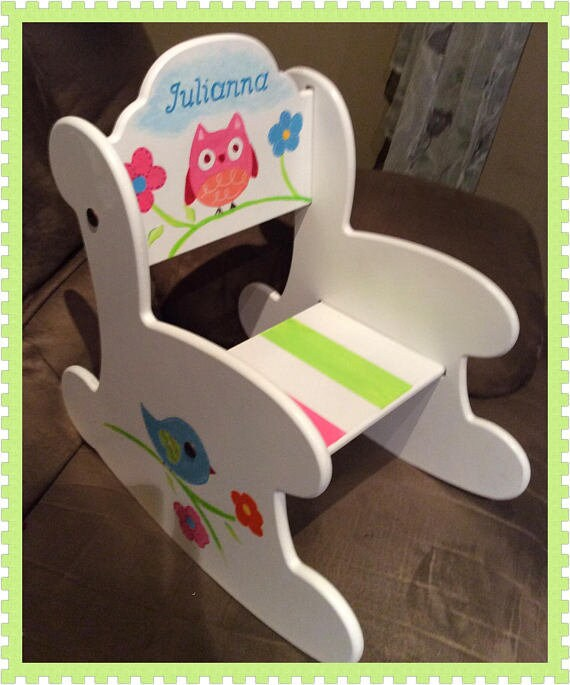 Amazing Wood Rocking Chair Arch Back The Julianna Hand Painted Personalized Baby Gift Toddler Gift Baby Shower Kids Rocker Machost Co Dining Chair Design Ideas Machostcouk