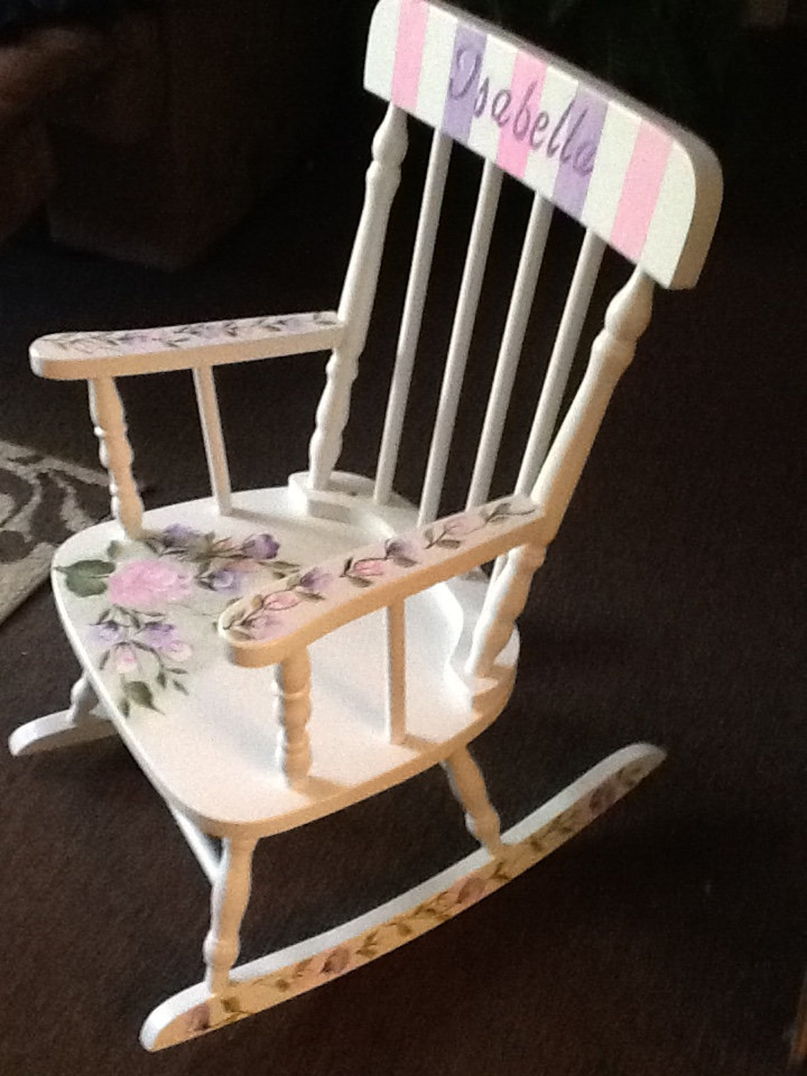 """Large Spindle Wood Rocking Chair  """" The Isabella """"-  Hand Painted & Personalized - Baby Shower/First Birthday/Special Birthday"""