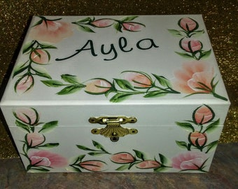 """The """" Ayla """"  Musical Jewelry Box with Ballerina -Hand Painted & Personalized/ Flower Girl"""