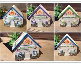 Ceramic Hand Painted Personalized House - Mail Holder /Napkin Holder/Real Estate/Closing Gift/House Warming/Gourmet Basket Base/New Home