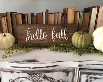 Hello Fall - Wood Sign | Custom Wood Sign | Reclaimed Wood | Fall Decor | Fall Sign | Rustic Decor | Pumpkins | Hand Painted Sign | Wall Art