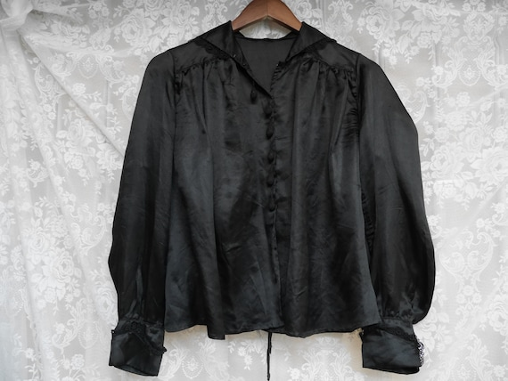 Victorian Mourning Silk Blouse • Circa 1890