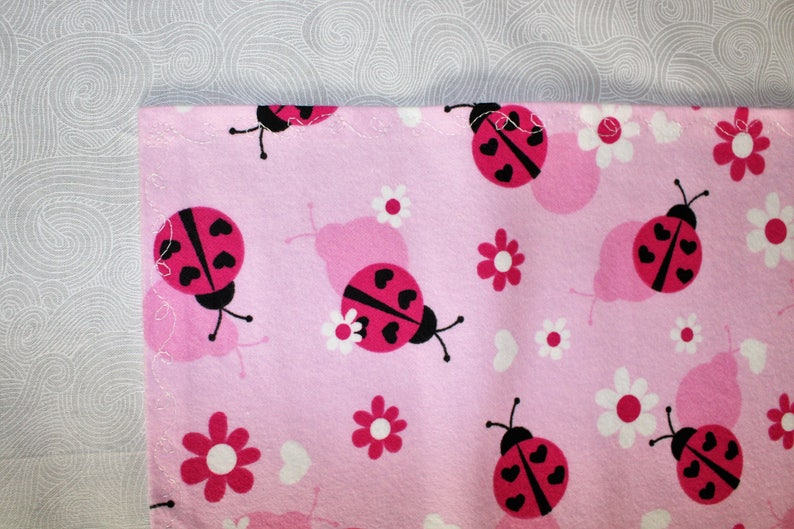 Hearts Baby Blanket Pink Ladybug Flannel Receiving Blanket Flower