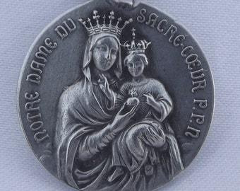 Our Lady Of Sacred Heart - French Religious Large Scapular Medal Pendant Charm - Communion Gift