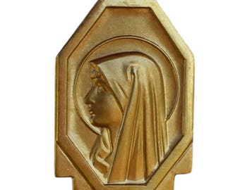 Our Lady Of Lourdes - French Vintage Gold Plated  Medal Pendant Charm - Religious Jewelry