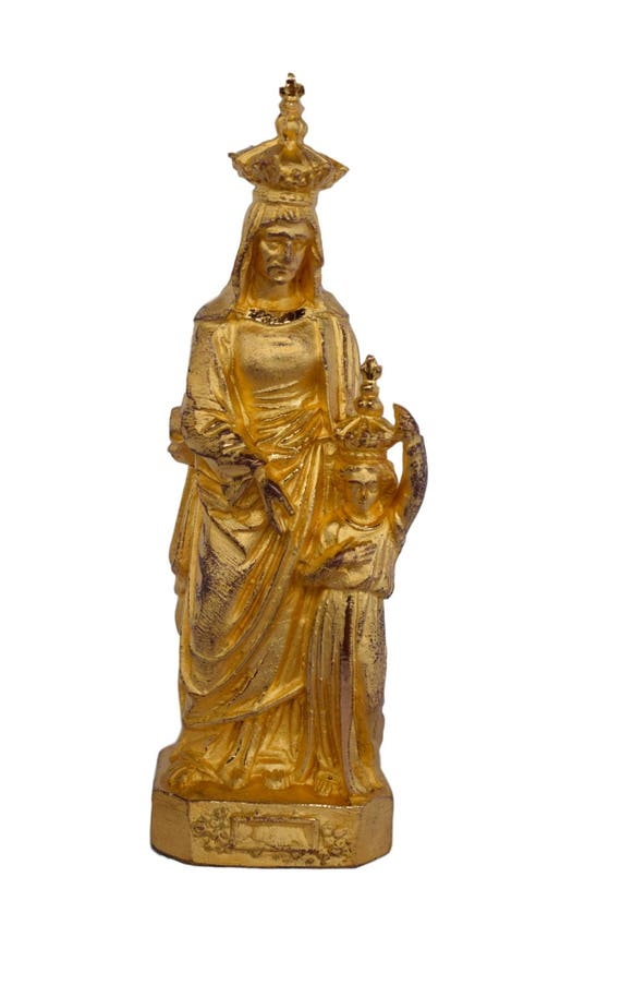 Astounding Antique French Golden Spelter Crowned Sainte Anne Dauray Catholic Religious Gift Pabps2019 Chair Design Images Pabps2019Com