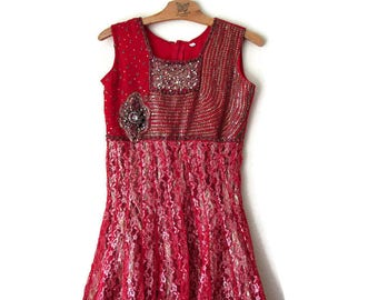 Gold Sequin Dress Red Sequin Dress Indian Dress Evening Dress Party Dress Holiday dress Vintage Dress Short Dress  Red Evening Dress Size XS