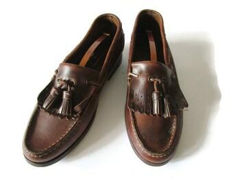 anni 90 vintage Mens U.S. 9 mocassini marrone vera pelle reale spessore  barca scarpe nappa Slip On scarpe Paola Portogallo Regno Unito 8 Eu 42 246d454f13d
