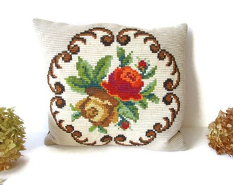 Decorative vintage mid century modern hand embroidered Pillow Cushion Floral Home Decor Interior Textile Flowers Made in Sweden Scandinavia