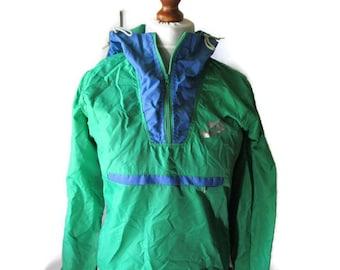 8757c5cca90d NIKE Windbreaker 80s Vintage Pullover Blue Green Light Rain Jacket Nike  Sports Jacket Sportswear With Hood